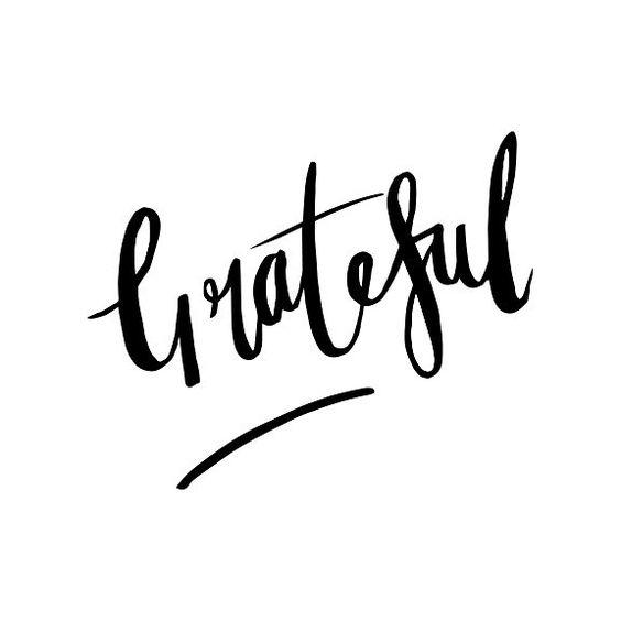 Grateful Home Decor Art print brush lettering, positive thinking. Instagram @lovelyink.prints www.lovelyink.co.uk