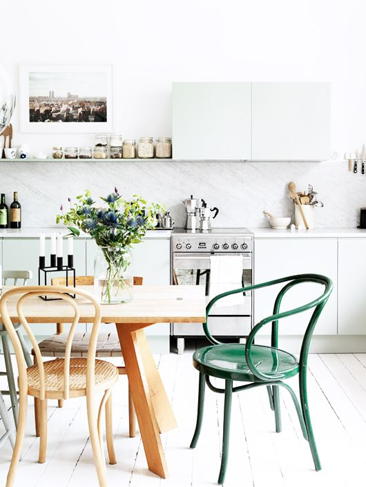 Green Bentwood Chairs, white kitchen, mixed chairs, wood table:
