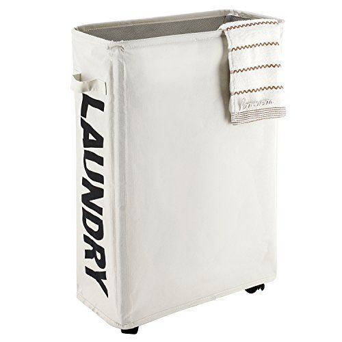 Caroeas 22 Rolling Slim Laundry Basket With Stand Foldable