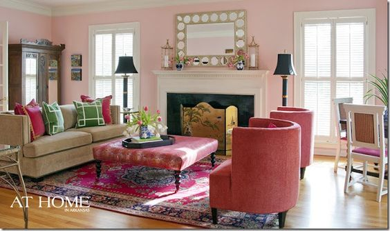 Andrea Anthony Brooks: Green Color, Room Ideas, Pink Living Rooms, Colorful Living Rooms, Pink Room, Pink Wall
