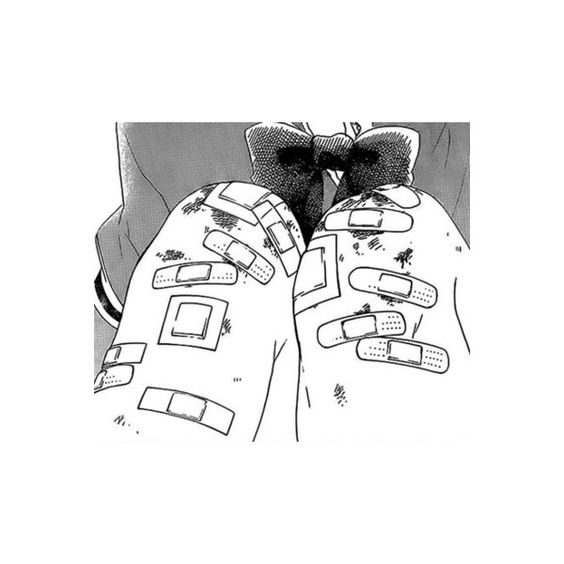 bandaid heart ❤ liked on Polyvore featuring anime, manga, filler, art and people