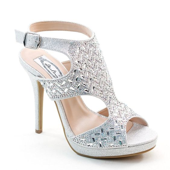 New Brieten Women's Rhinestone Slingback Peep Toe High Heel Dress Party Sandals Evenings *** To view further for this item, visit the image link.