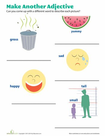 First grade English worksheets, Adjectives words worksheet