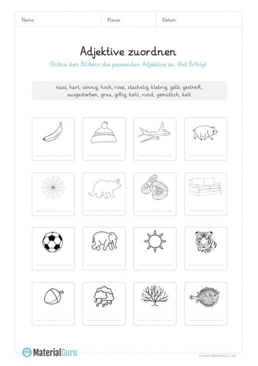 Ein Kostenloses Arbeitsblatt Zum Thema Adjektive Auf Dem Die Schuler Adjektive Bildern Zuordnen Soll Adjektive Grundschule Adjektive Kostenlose Arbeitsblatter