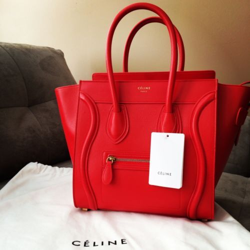 celine discount bags - 100% AUTHENTIC NEW 2013 CELINE MICRO LUGGAGE - VERMILLION ...