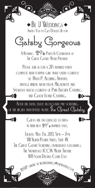Gatsby Themed Party Invitation – Great Gatsby Party Invitations