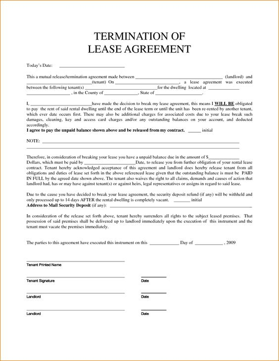 free delaware lease termination letter form day notice word - lease termination agreement