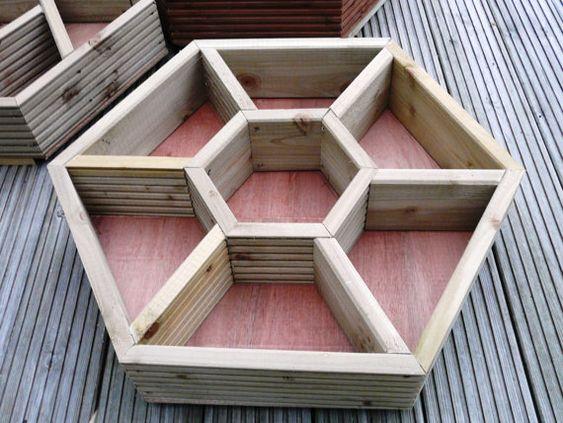 hand made wooden hexagonal HERB WHEEL patio planter