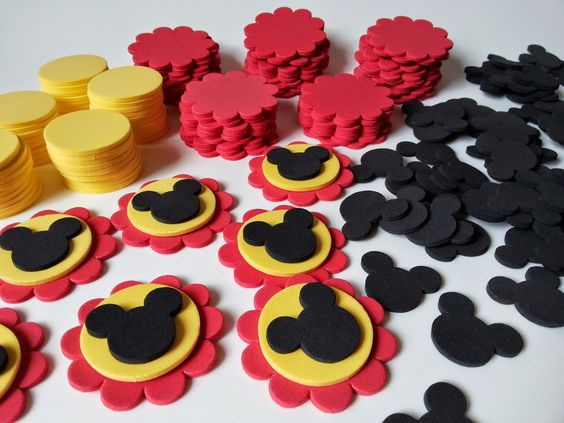 kit para 50 apliques do mickey mouse p/lembrancinhas: