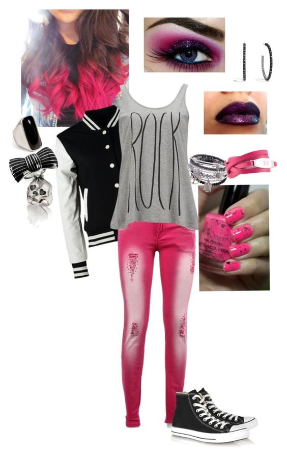 """Rock Pink"" by shaila5853 ❤ liked on Polyvore featuring Urban Classics, Vero Moda, Converse, David Yurman, Sonia Rykiel, Sheeva and Emilio Pucci"