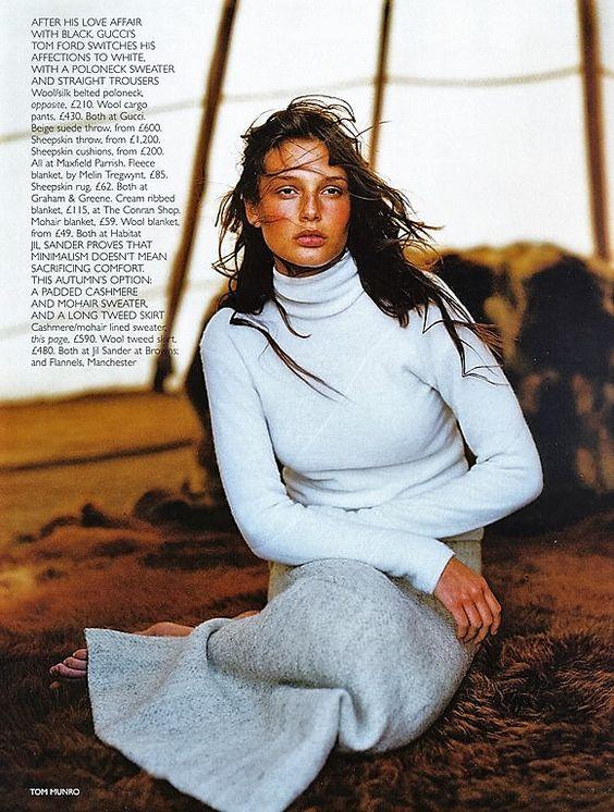 Bridget Hall Vogue UK  August 1998