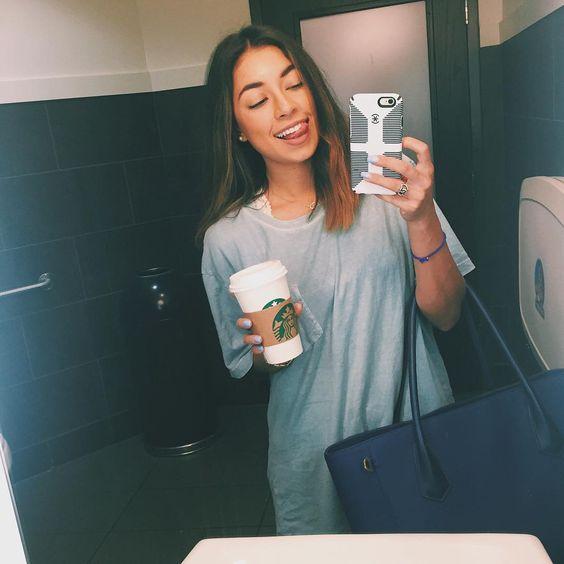 "Jeanine Amapola on Instagram: ""Big T-shirt and coffee. My kind of day ☕️ #StarbucksBathroomLol"""
