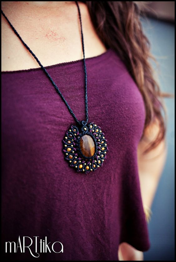 Macramé with Tiger eye stone necklace. Macrame necklace. Flower. Mandala. Black and purple color.
