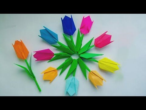 Easy Tulip Flower Making How To Make Easy And Simple Tulip Flower Paper Flowers By Kovaicraft Youtube Paper Flowers Craft Flower Making Paper Flowers
