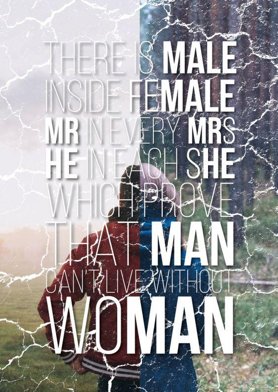 Man can't live without woman | Männer | Echte Postkarten online versenden…