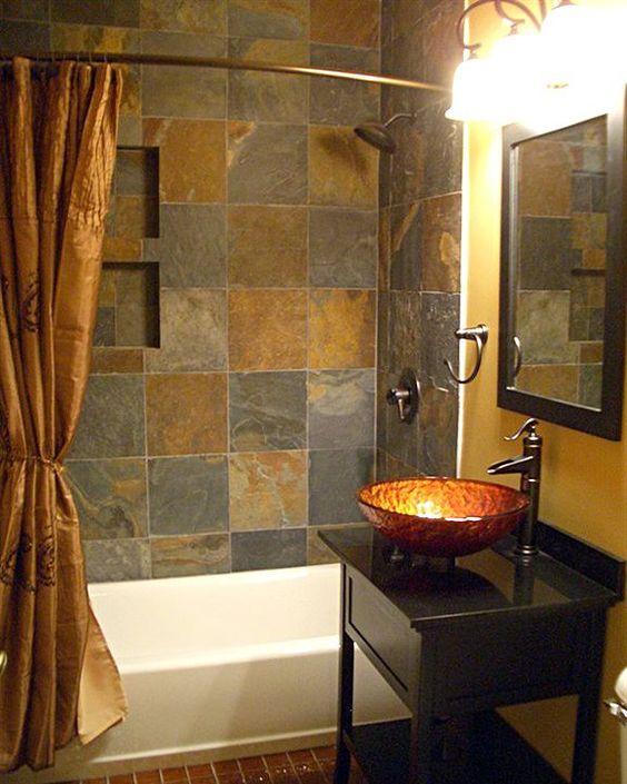 Small bathroom remodel photos cobre baldosas de - Lavabos de pizarra ...