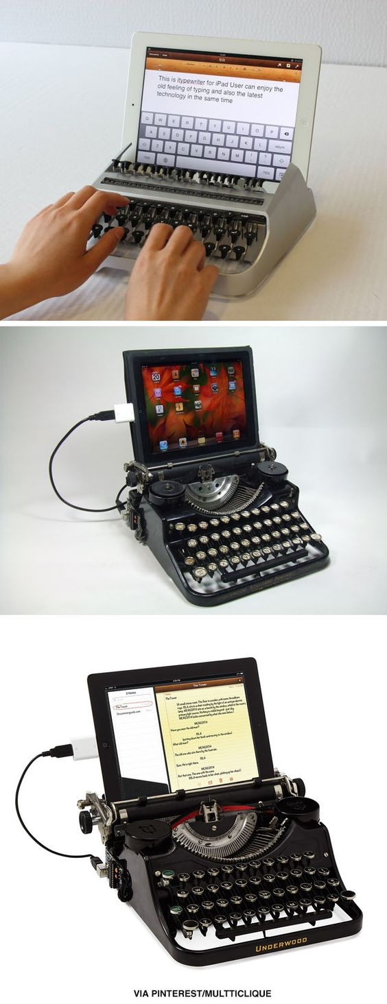 cool retro inspired tech accessories - I love these! Everyone needs faux typewriters for their digital devices!