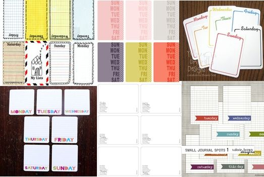 6 Day of the Week Printable Journaling Card Project Life Freebies