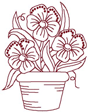 Redwork Potted Flowers Embroidery Design  Hand Embroidery