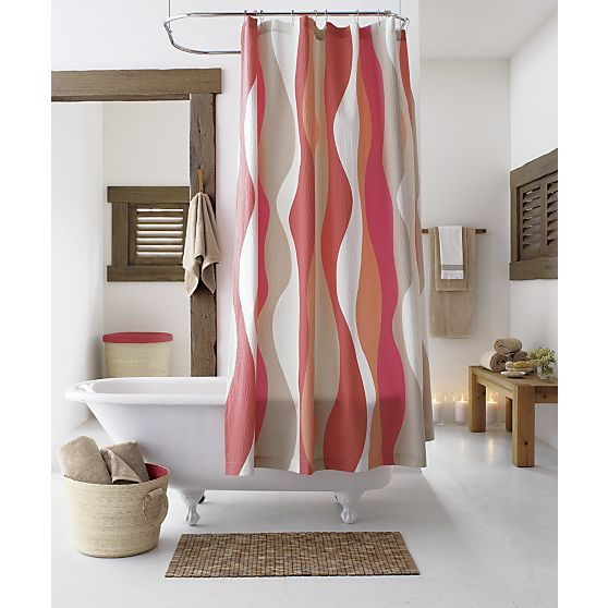 Shower Curtains crate and barrel shower curtains : Italian Seersucker Coral Shower Curtain | Crate and Barrel ...