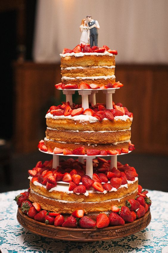Strawberry Shortcake Wedding Cake - Blest Photography - NC Wedding Planner - Orangerie Events  different