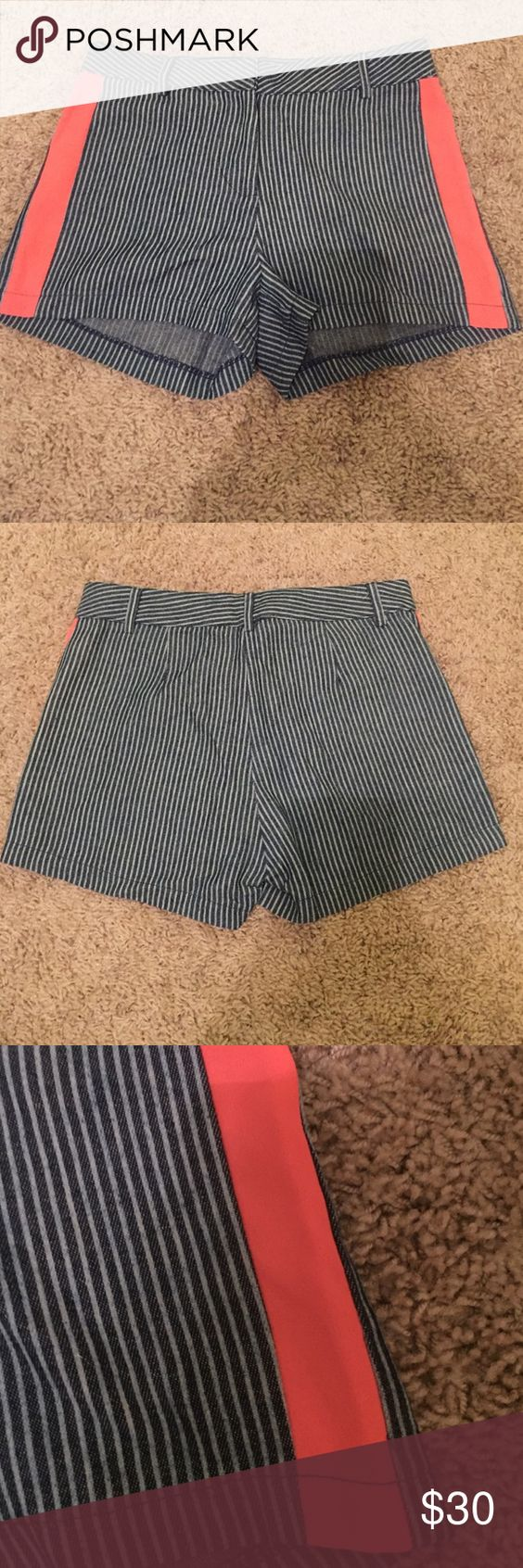 Jealous Tomato Shorts Navy blue and light blue striped shorts with a bright orange/pink stripe down each side. Very flattering! Worn one time. In great condition! Jealous Tomato Shorts