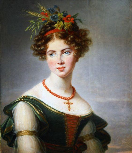 Countess de Bossancourt - 1830 oil on panel, 73 x 59.5 in Josèphine, Comtesse de Baussencourt née de Sassenay. She was born in 1811. Signed and dated L.E VIGEE LEBRUN 1830 Musée des Beaux-Arts, Troyes