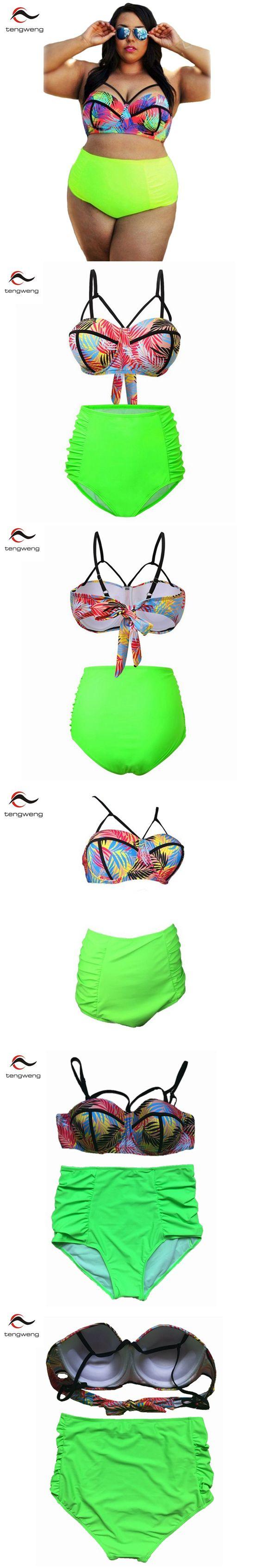 Tengweng Plus size Swimwear high Waisted Bathing Suit Womens Push Up Padded Floral Strappy Bikini Swimsuit Set 2XL-5XL Free Send $13.9