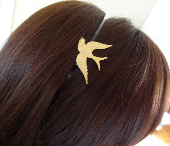 Swallow Headband by wynbrit on Etsy, $16.00--would totally match my tattoo!!