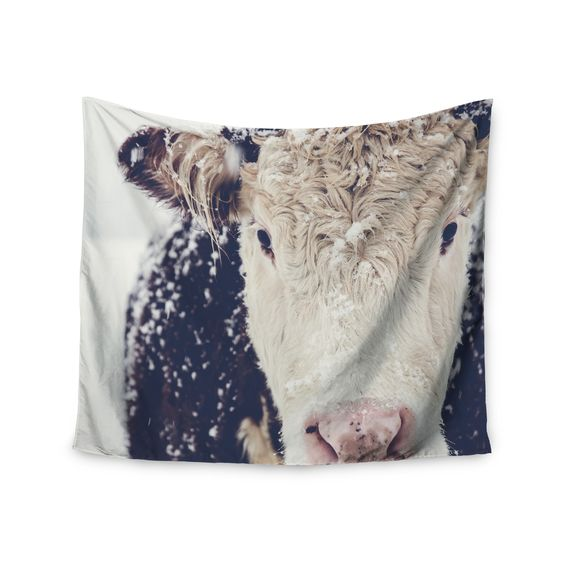 "Debbra Obertanec ""Snowy Cow"" Black White Wall Tapestry"