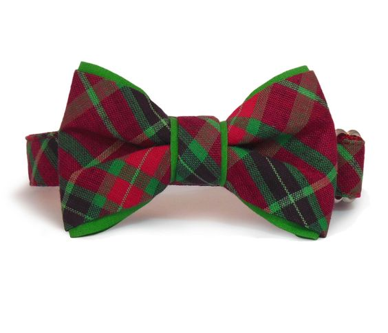 Christmas Bow Tie Dog Collar Combo in a Red & Green Plaid - A ...