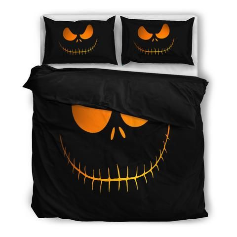 Jack Skellington S Evil Face 3 Piece Bedding Set In Black Jack Skellington Bedding Nightmare Before Christmas Bedding Jack Skellington