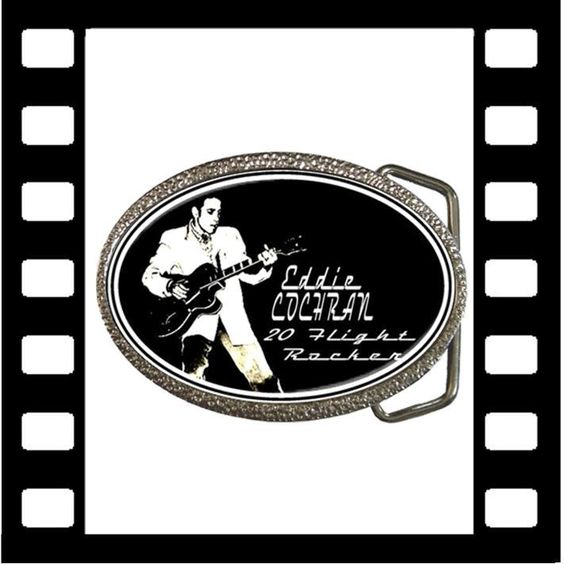 Cool Eddie Cochran Stainless Steel/Chrome buckle from www.RetroHound.co.uk