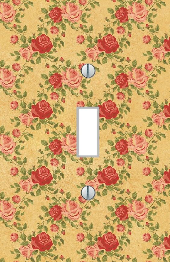 Details about Light Switch Plate red pink roses floral living room ...