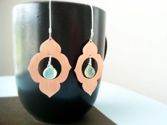 Copper Earrings, Copper Jewelry,  Green Chalcedony Earrings, Lotus earrings, Copper and Silver Jewelry, by BLUEskyBLACKbird on Etsy https://www.etsy.com/listing/96751043/copper-earrings-copper-jewelry-green