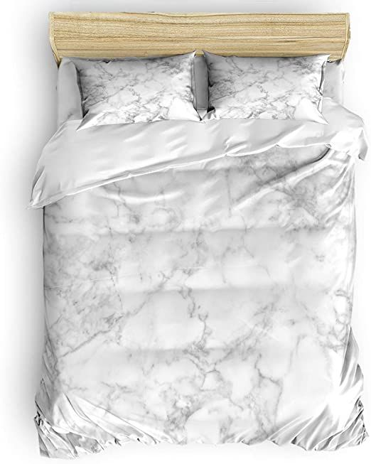 Miss Sweetheart Art Microfiber Bedding Duvet Cover Set 4 Pieces Queen Size Marble Refresh White Pattern Luxur Duvet Cover Sets Bed Duvet Covers Down Comforter