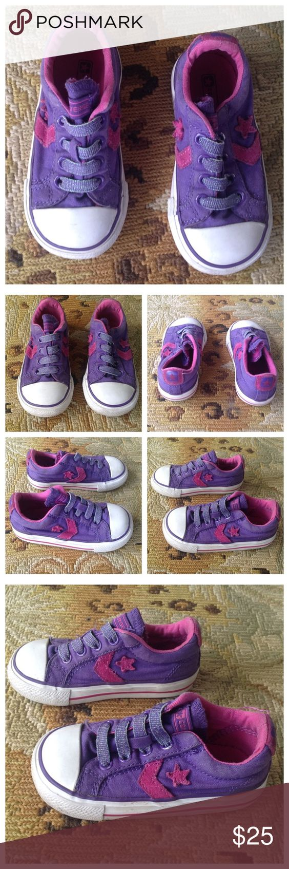Converse Purple Pink Toddler Shoes Sneakers 6 Converse. Purple and pink baby girl toddler shoes. Size 6. Slip on sneakers. Look great- I did not wash them, so they should wash up even better! Converse Shoes Sneakers