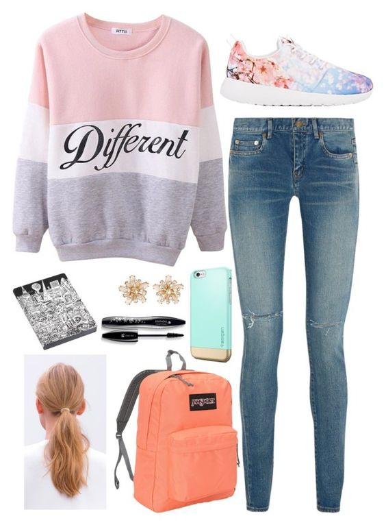 """""""School Vibe"""" by stinkerbelle2000 ❤ liked on Polyvore featuring Yves Saint Laurent, NIKE, JanSport, Lancôme and Nuuna"""