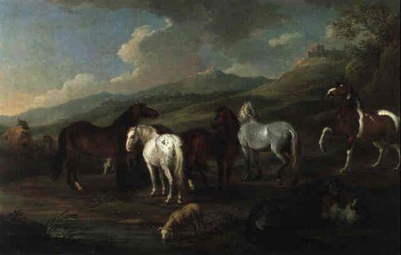 Pferde in einer gebirgigen Landschaft by Johann Georg de Hamilton