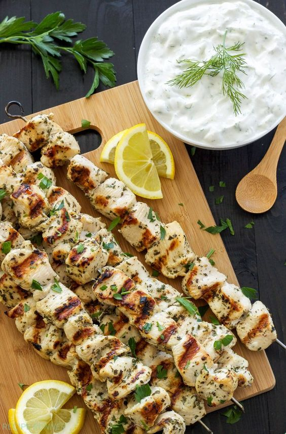 Greek lemon chicken, Chicken skewers and Tzatziki sauce