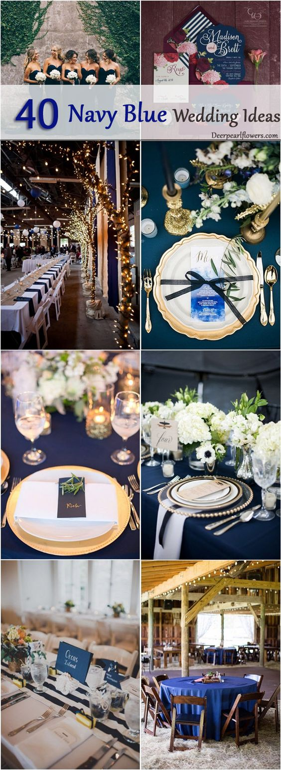 Navy blue wedding color theme ideas / http://www.deerpearlflowers.com/navy-blue-and-white-wedding-ideas/2/