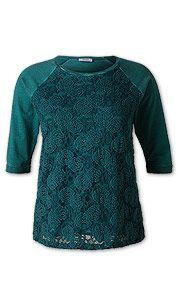 Sweater mit Spitze in dunkelgrün