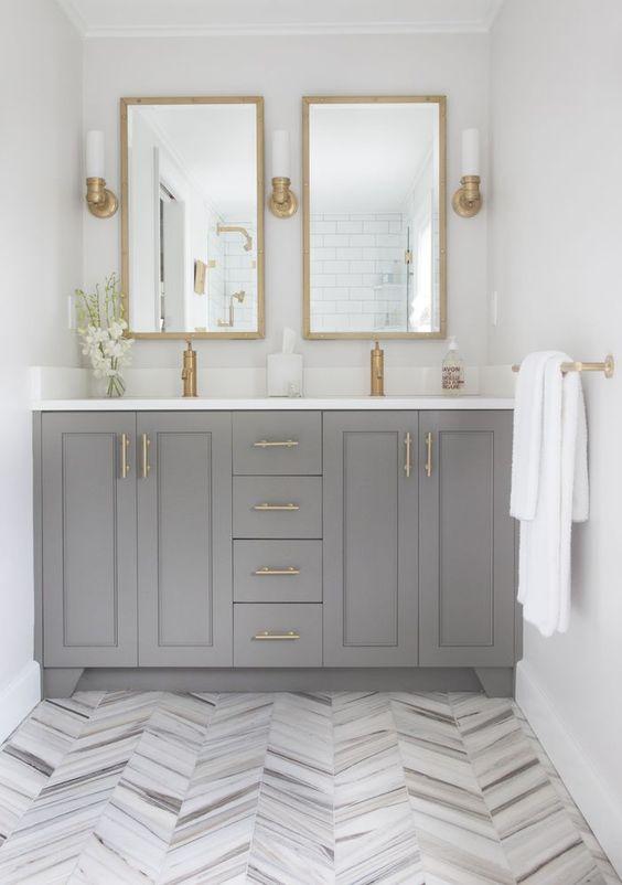 Transitional Style - Home Design - Bathroom Ideas - Herringbone Pattern - Wood Floors - Ceramic Tile