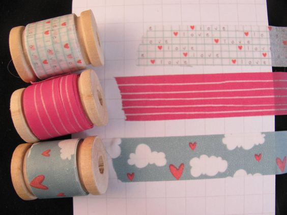 SO CUTE!  Washi Tape Assorted 3 Yards on spools - heart, love, clouds and stripe. $3.75, via Etsy.