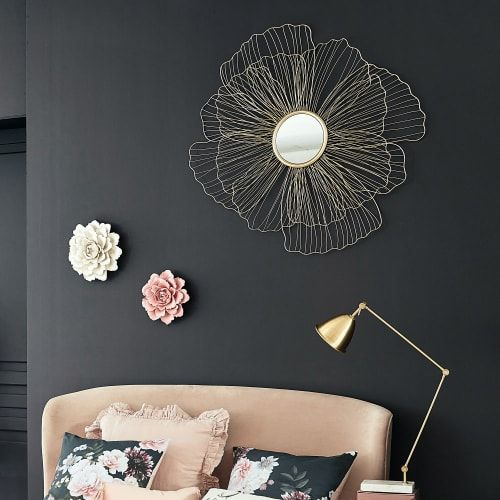 Gold White And Pink Metal Wall Art 76x60 In 2020 Metal Flowers