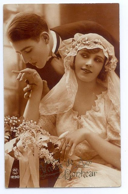 Bride and groom, 1920s.: