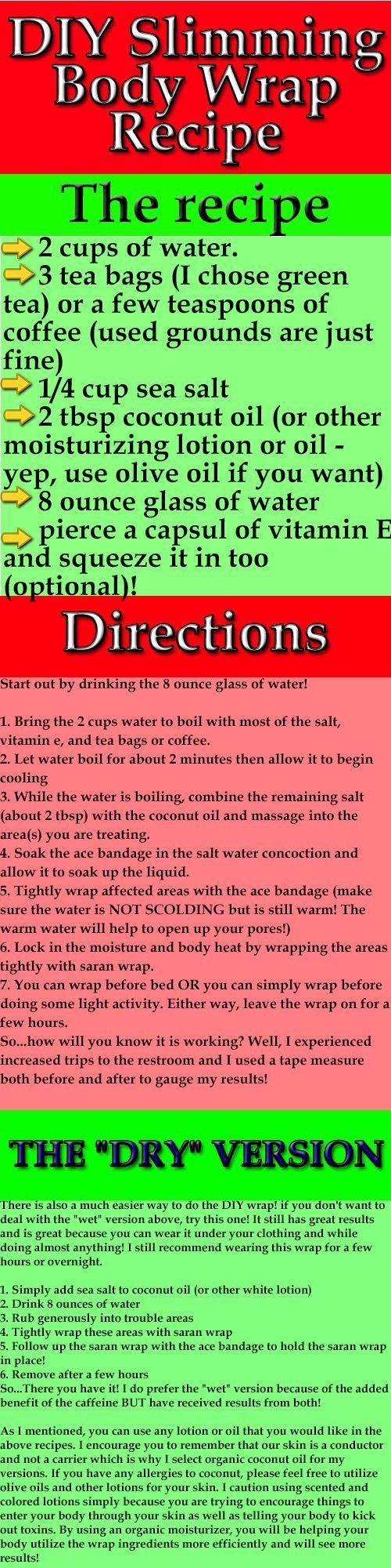 DIY Slimming Body Wrap Recipe | Green, Body wraps and ...