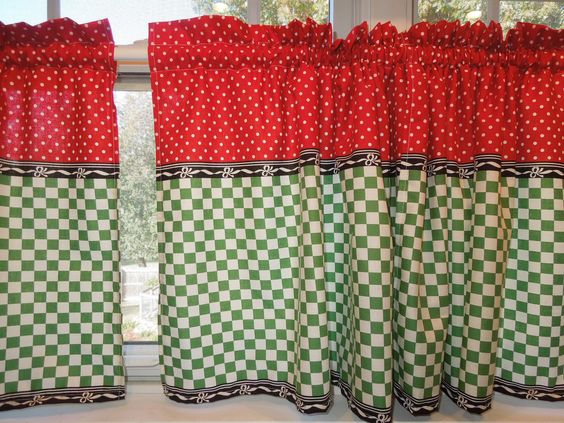 Retro Kitchen Curtains, 1950s Diner Style, Four Panels, Red, Green ...