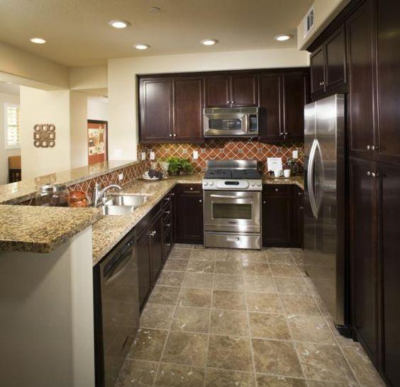 Faux stone kitchen floors and linoleum flooring on pinterest for Cheap kitchen flooring linoleum