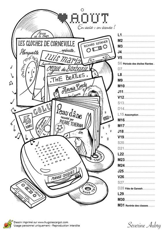 Le mois d'aout est le deuxième mois de vacances, calendrier à colorier